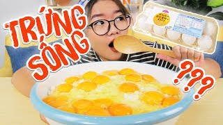 MUKBANG CHALLENGE EAT A BOWL OF GIANT RAW EGG OVER RICE | THANH AN TV