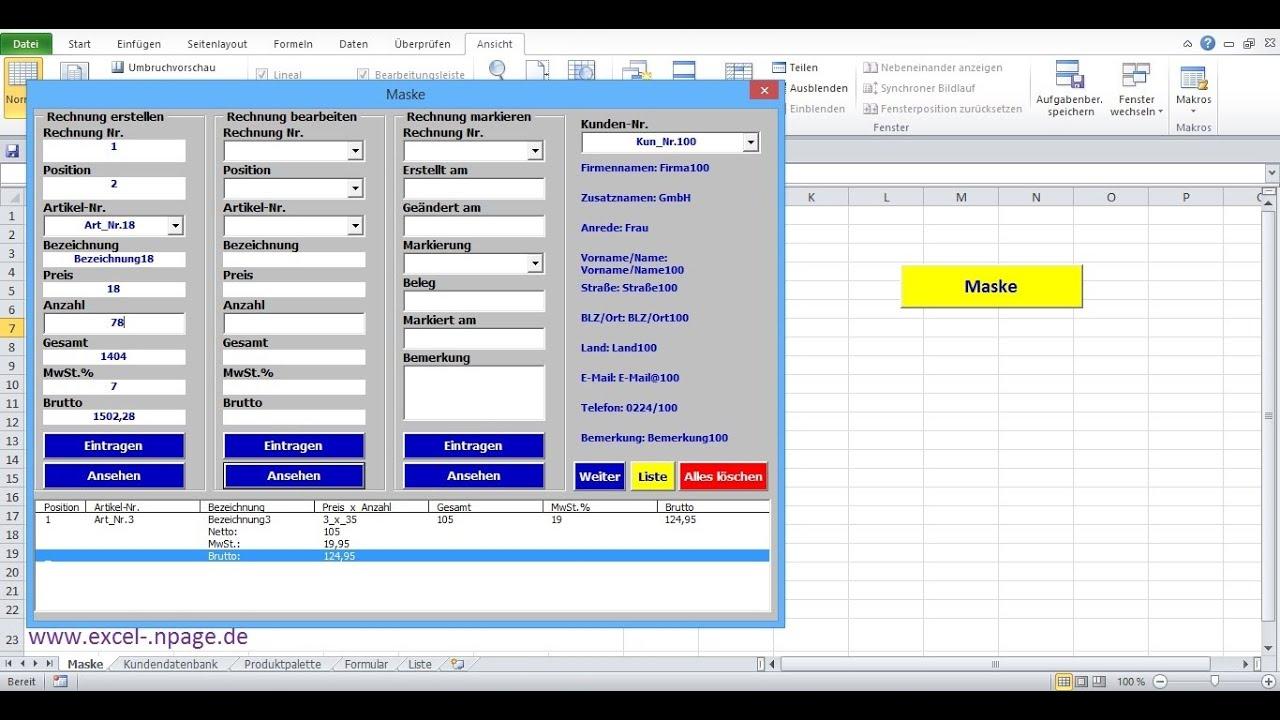 16rechnungsprogramm In Excel Selber Erstellen Schaltfläche Weiter Erstellen