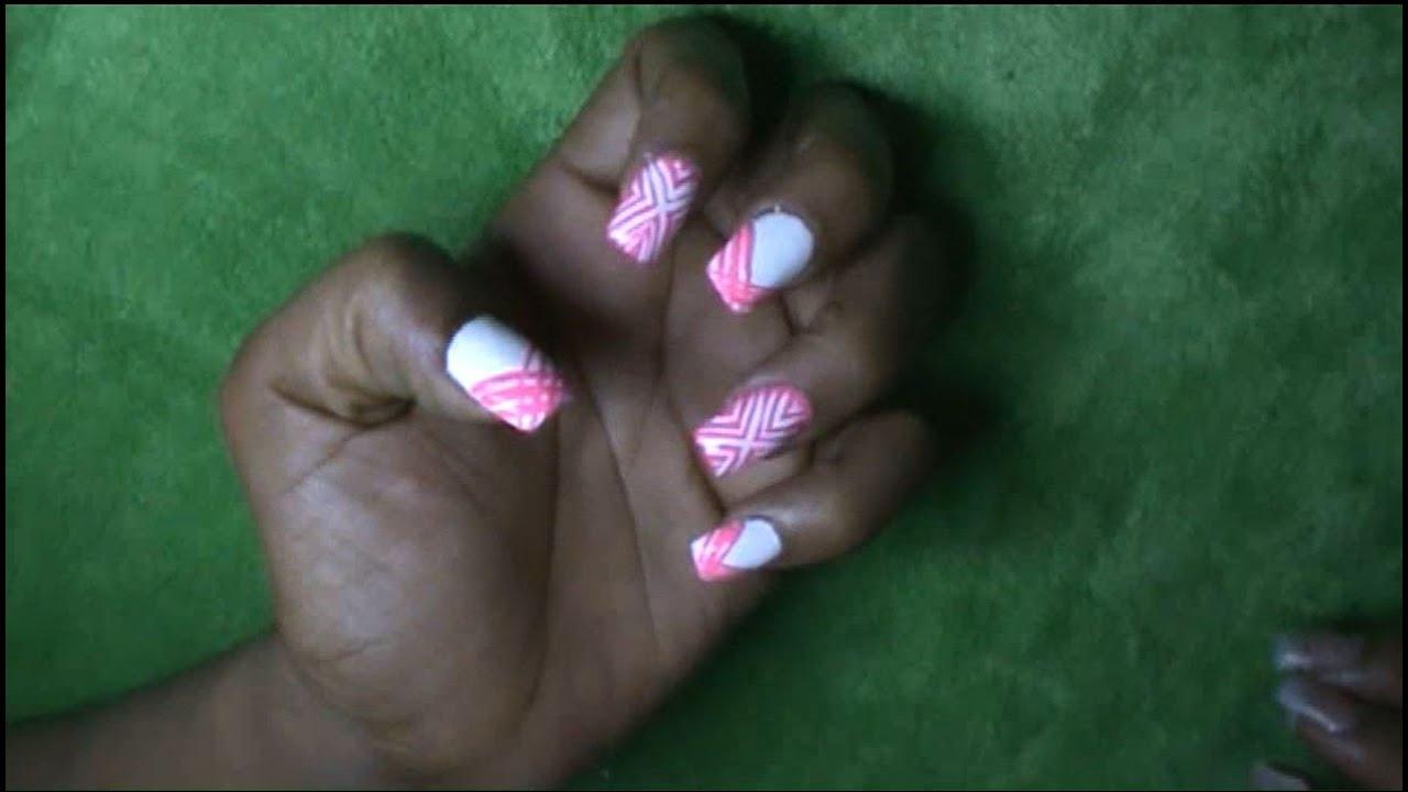 Decoración de uñas - Fácil decoración de uñas con dos colores - YouTube