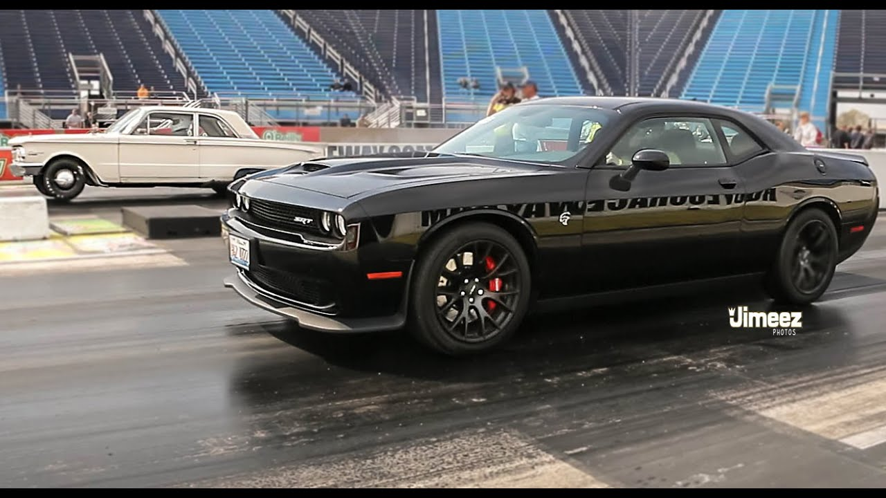 Charger Vs Challenger >> COMET TORCHES HELLCAT! '62 MERCURY COMET VS '15 DODGE CHALLENGER HELLCAT AT RT66! - YouTube