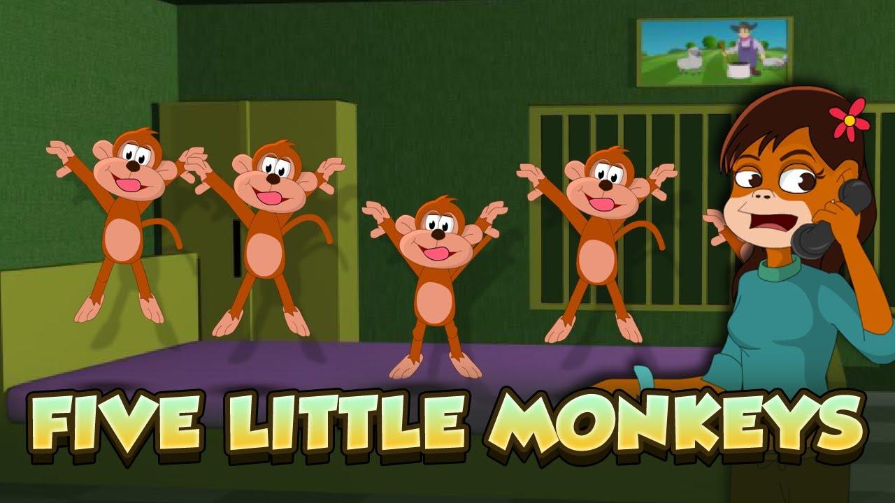 Five Little Monkeys Jumping on the bed | Kids Nursery ...