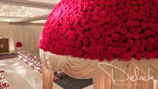 Roshni & Palak Red Rose Mandap Indian Wedding Decoration by Yanni Design Studio