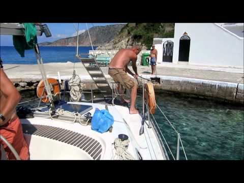 Mooring stern to the short mole of Assos - Rania Ionian Sailing 2014-20