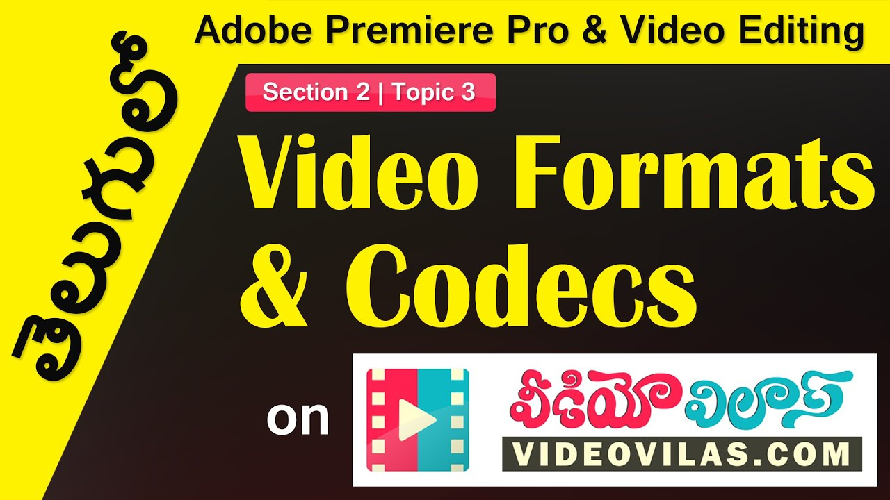 తెలుగులో Adobe Premiere Pro & Video Editing: Video Fundementals - 03 -  Video Formats and Codecs