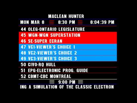 Electronic Program Guide (EPG) on Maclean Hunter Cable in Ottawa March 1993