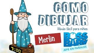 Como dibujar bebe en pañales Merlin / dibujo fácil para niños