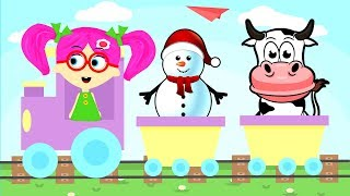 Learn About Trains, Cow and Bus for Kids by Seona and Oly   Colours for Children Coloring Pages
