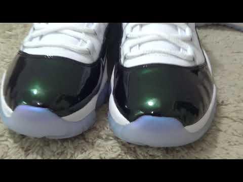 First Looking! Air Jordan 11s Low Emerald Review from Dopekickz23