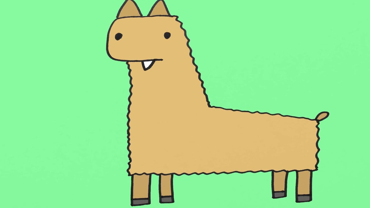 how to draw a llama cartoon step-by-step drawing for kids - youtube