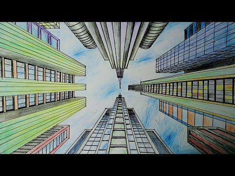Menggambar Gedung Dengan Perspektif 1 Titik Hilang Dengan Sudut Pandang Mata Kucing Youtube
