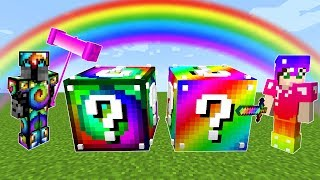 Minecraft: RAINBOW VS SPIRAL LUCKY BLOCK CHALLENGE! - Modded Mini-Game
