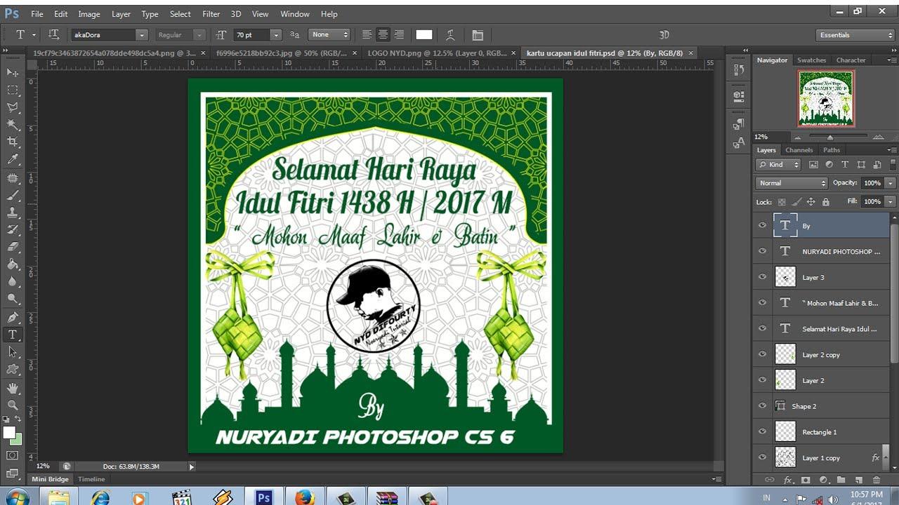 Cara Membuat Kartu Ucapan Idul Fitri Ramadhan 1438 H 2017 M