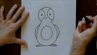 How To Draw A Cartoon Penguin Free Drawing Lesson For Kids