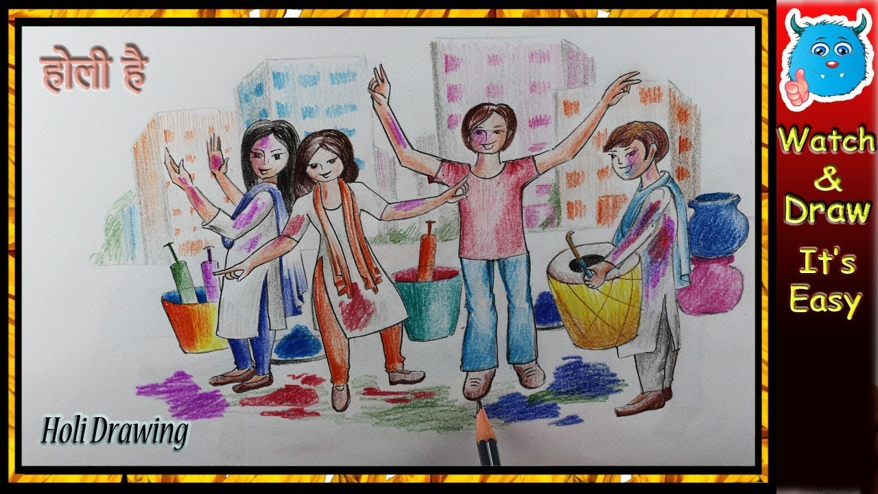 Happy holi drawing scene