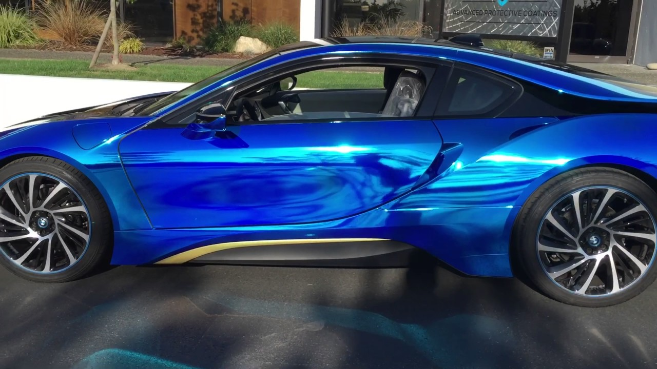 Apc Bmw I8 Blue And Gold Chrome Vinyl Wrap Youtube