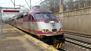 Railfanning Forest Hills Station with Awesome Horn Blasts from MBTA and Amtrak Trains!
