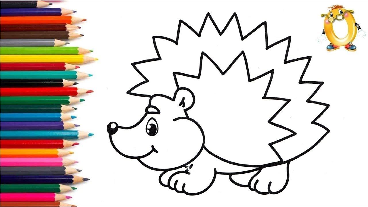 Раскраска для детей ЁЖИК. Мультик - Раскраска. Учим цвета ...