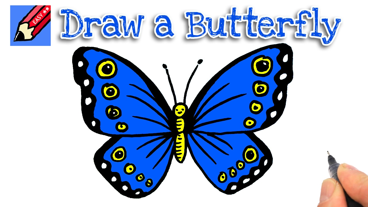 How to draw a butterfly real easy for kids and beginners ...