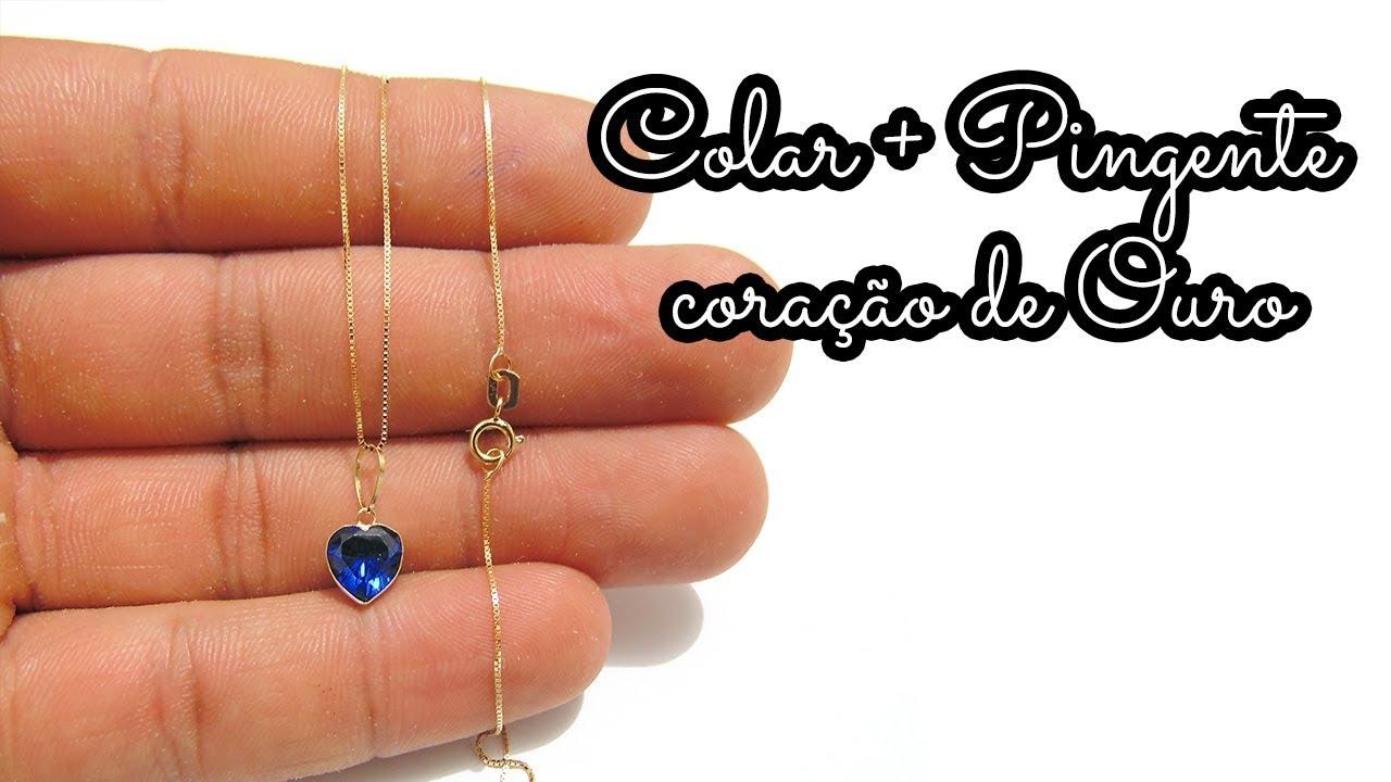 Colar + Pingente Coração Com Pedra Zircônia 8x8mm Ouro 18k - YouTube 64a52c6045