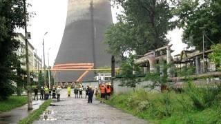 Zburzenie nieczynnego komina w EC Megatem
