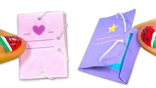 Enjoy creating a miniature DIY folder with rubbers for your dolls. ...