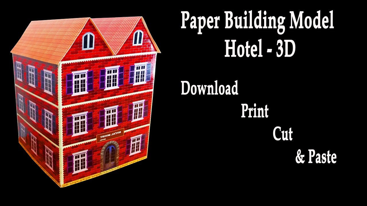 Paper building model hotel 3d hotel model hd youtube Build house online 3d free