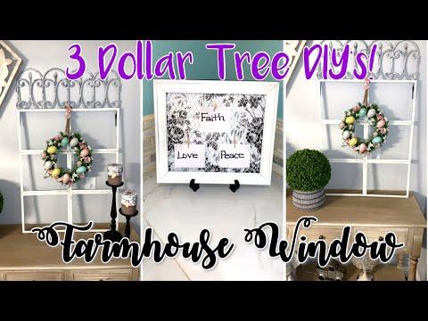 FARMHOUSE DIY WINDOW | DOLLAR TREE DIY | SPRING | FARMHOUSE DECOR