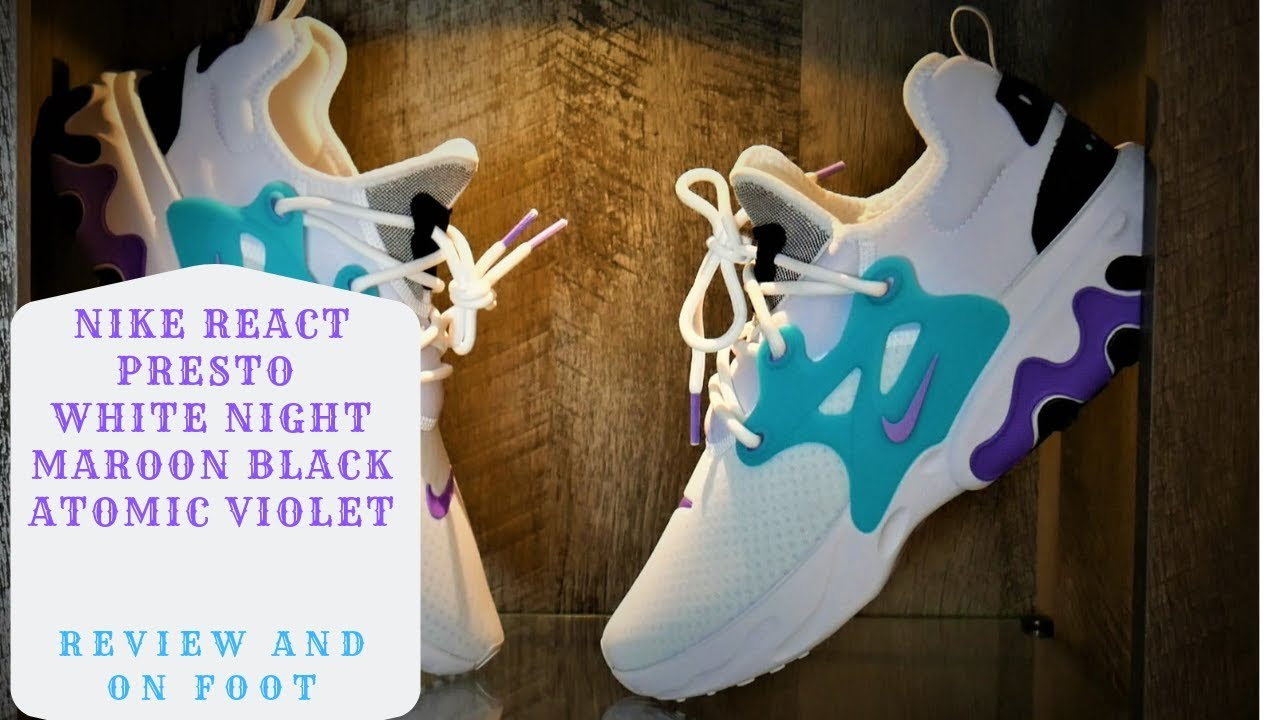 wholesale dealer 7e9cd e36a0 Nike React Presto White Night Maroon Black and Atomic Violet Review and On  Feet