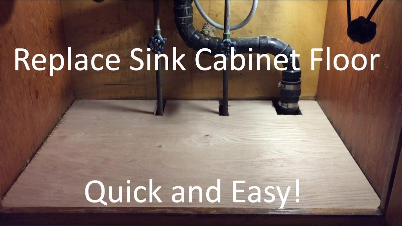 replace sink cabinet floor
