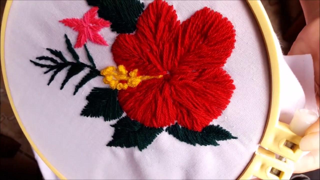 Hand Embroidery Hawaii Flowerslalar Youtube