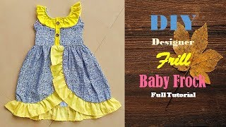 Diy Designer Yellow Frill Baby Frock  Cutting And Stitching Full Tutorial