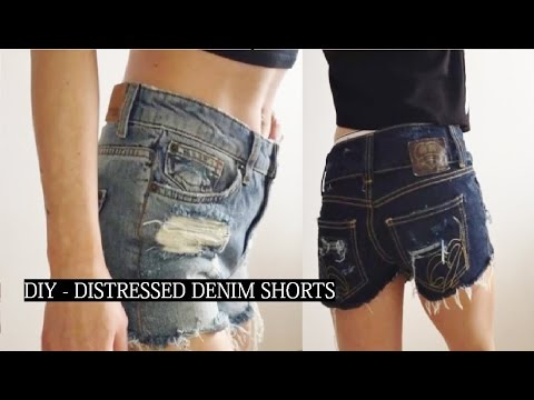 Diy shorts: how to make distressed denim jean shorts | diy.
