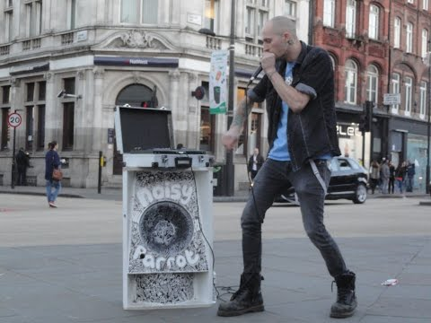 "Beatboxer, M.C. & Poet ""Noisy Parrot"" performing on Camden Market High Street & Piccadilly Circus."