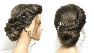 Simple Juda Hairstyle. Fishtail Braid Low Bun For Long Hair