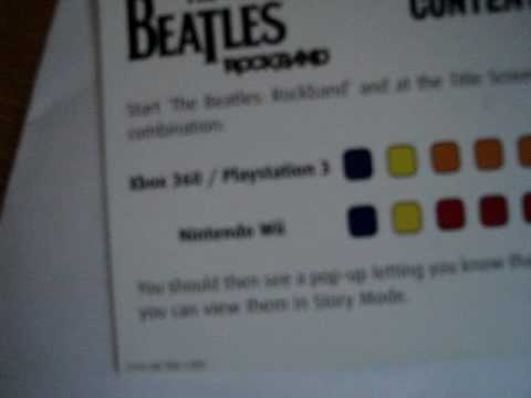 The Beatles: Rockband Content Unlock Codes for Xbox 360 + PS3 + Wii