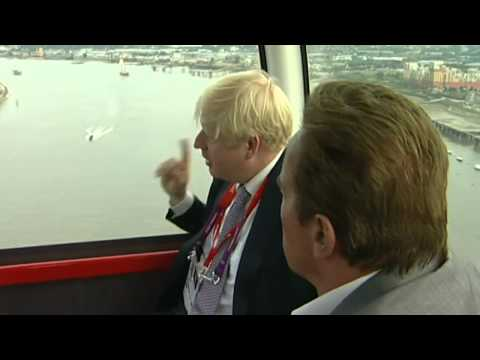 Boris Johnson and Arnold Schwarzenegger take a tour on London's cable car
