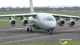 BAe 146-200QC C3 No.32 The Royal Squadron Airforce ZE707 - Close up Take off Gloucestershire Airport