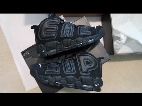 Supreme x Nike Air More Uptempo Black Sneaker Unboxing