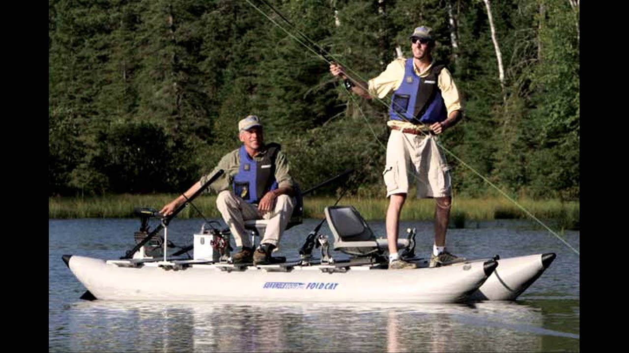 Inflatable pontoon fishing boats youtube for 4 person fishing boat
