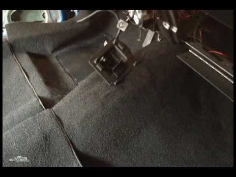 Preparing the carpet for installation in the ol' 72 Mustang Fastback