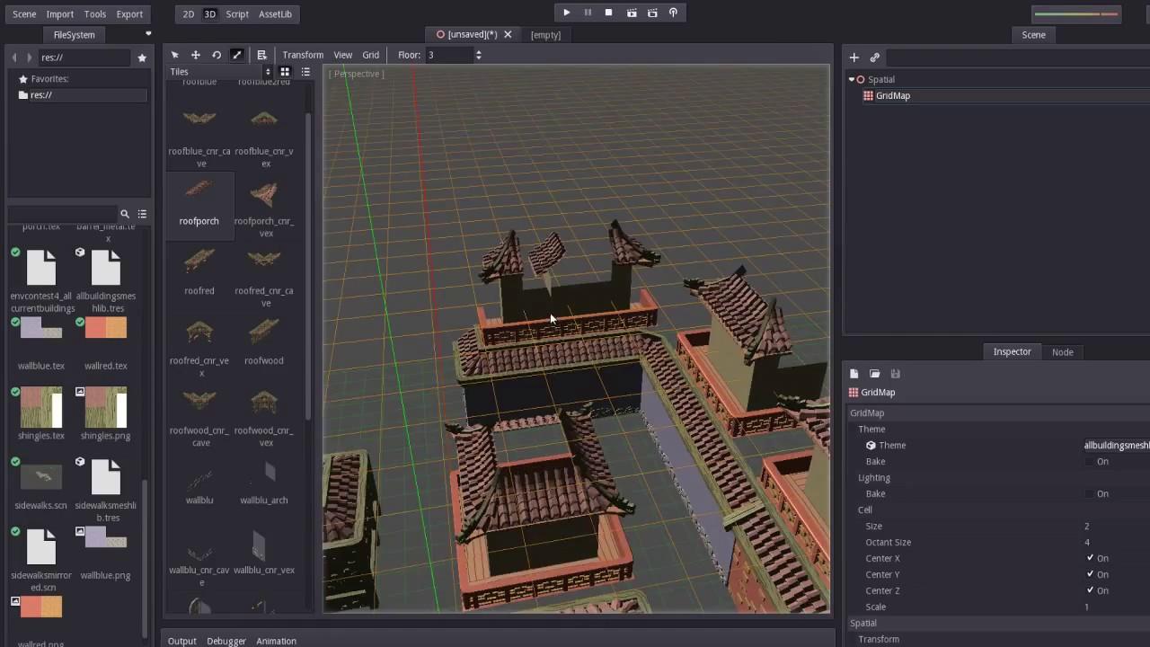 Complex 3d tileset, building in Godot