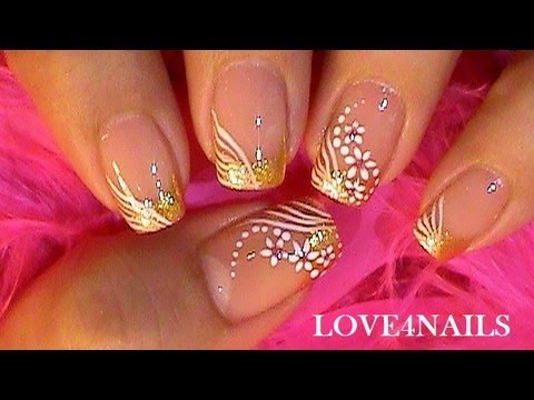 Special occassion nail art design tutorial gold white youtube special occassion nail art design tutorial gold white prinsesfo Choice Image