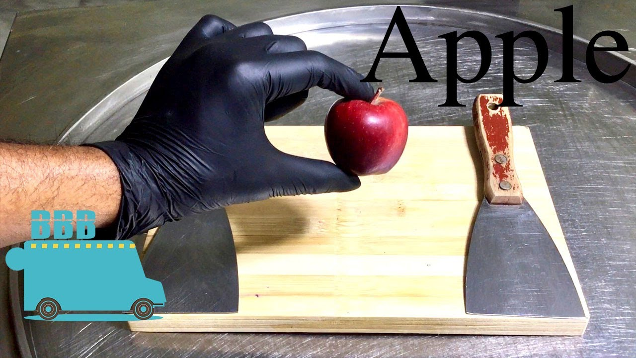 Extra Small APPLE Ice Cream Rolls - Making Apple Ice Cream - Satisfying ASMR