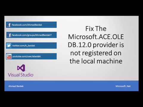 Microsoft ACE OLEDB 12 0' provider is not registered on the local