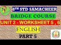 8th English Work Sheet 5,6 Bridge Course Answer Key