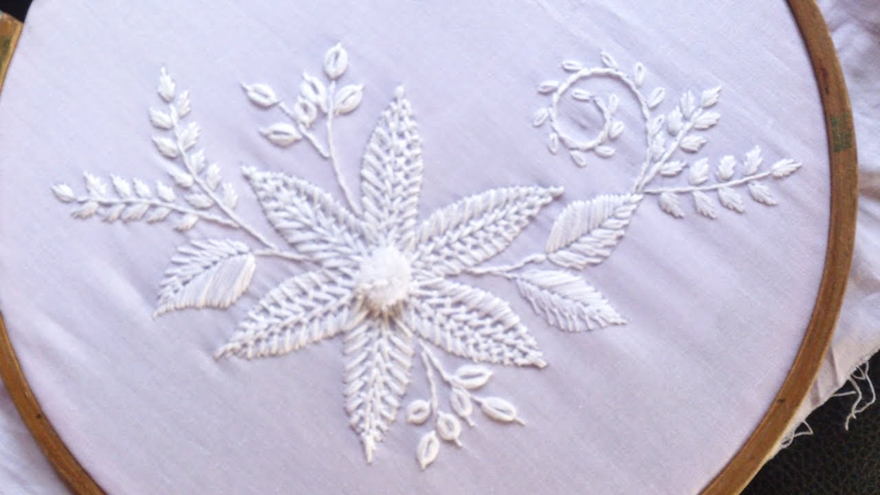 Hand Embroidery Designs White Work Embroidery For New Year Youtube
