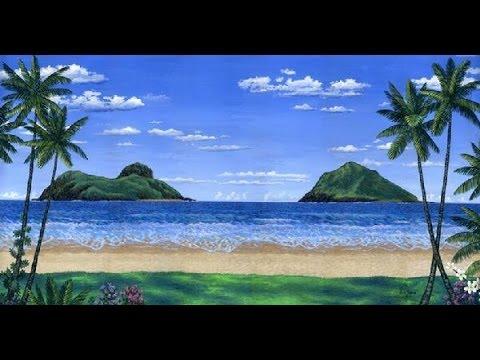 kaedah lukisan pantai dan pokok kelapa akrilik cat pada