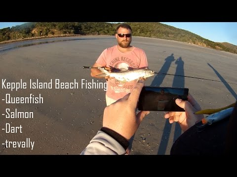 KEPPEL ISLAND BEACH FISHING!! Queenfish, salmon, dart, trevally
