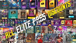 ALL ELITE PASS DISCOUNTS || FREE FIRE ALL ELITE PASS DISCOUNTS || ALL DISCOUNTS OF FREE FIRE || TSK
