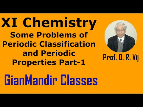 XI Chemistry - Some Problems of Periodic Classification and Periodic Properties Part-1 by Ruchi Mam